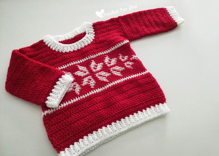 CROCHET WINTER SNOWFLAKE BABY SWEATER